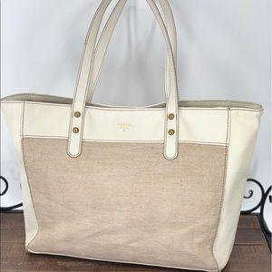 FOSSIL~ Cream Leather & linen tote